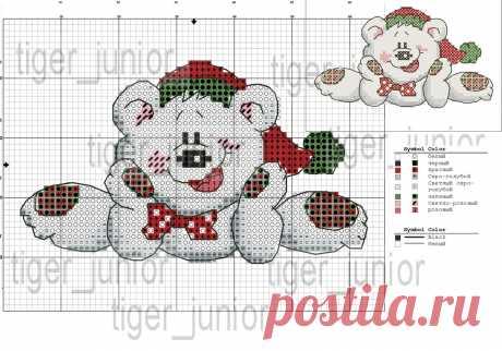 схема вышивки крестом новогодний мишка