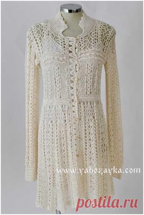 Кружевное платье крючком от Ванессы Монторо. Связать платье крючком схемы