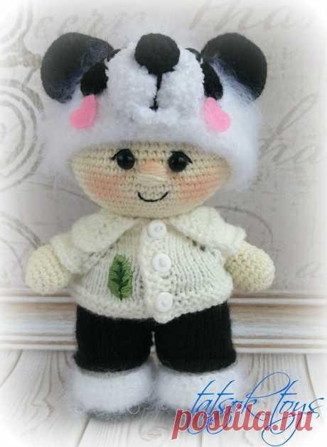 Пупс в костюме панды крючком | Схемы амигуруми