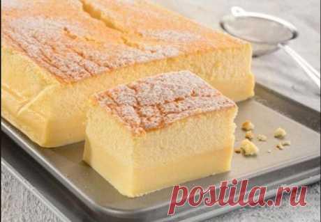 Волшебный пирог: заливаешь один слой, а он сам делится на два совершенно разных
