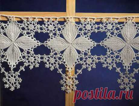 """Curtain in """"Бистро&quot style; with the Irish lace. MK \/ Knitted a hook of accessories \/ PassionForum - master classes in needlework"""