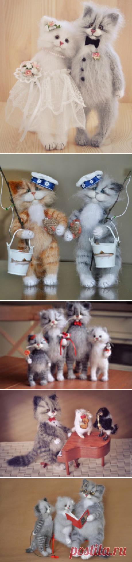 Добрые вязаные коты от Ольги Бессогоновой