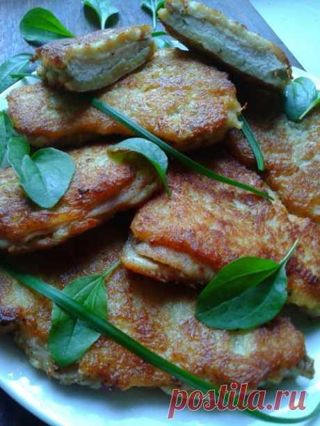 Куриное филе в нежирной картофельно-сырной шубке
