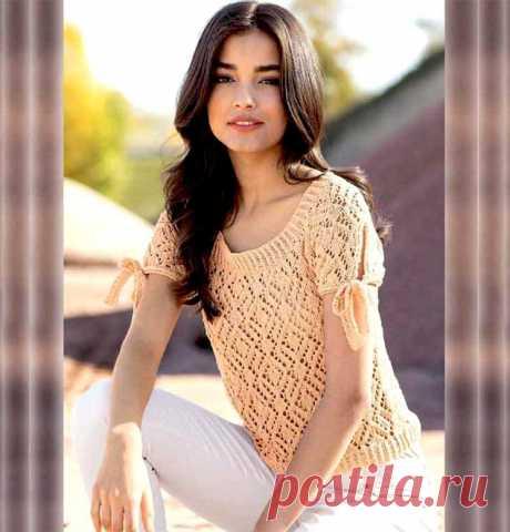 Ажурный пуловер абрикосового цвета (Вязание спицами) – Журнал Вдохновение Рукодельницы