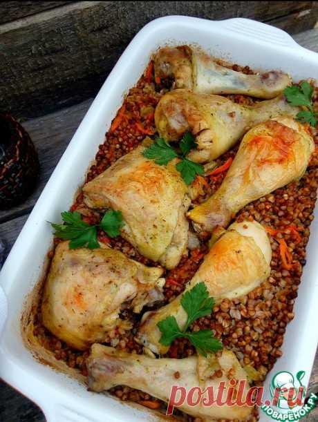 Курица с гречкой (можно с перловкой) в духовке - просто и быстро!