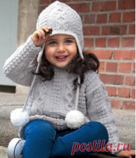 Детский пуловер и шапка с ушками.