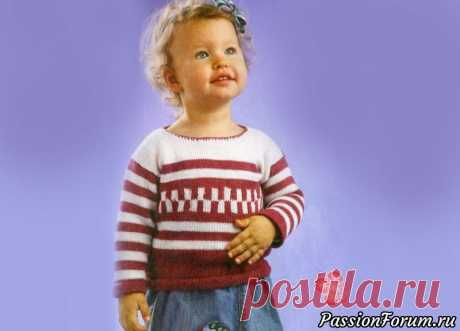 Теплый пуловер с геометрическим орнаментом | Вязание спицами для детей Теплый пуловер спицами для маленькой модницы согреет холодной зимой. Детский пуловер для ребенка 2 лет.Возраст: 1,5-2 года Материалы: пряжа «Леся» (50% шерсть, 50% акрил, 400 м/100 г) - по 100 г брусничного и белого цвета, спицы №2.5, №3, крючок №2.5.Лицевая гладь: лиц. ряды лиц. п.,...