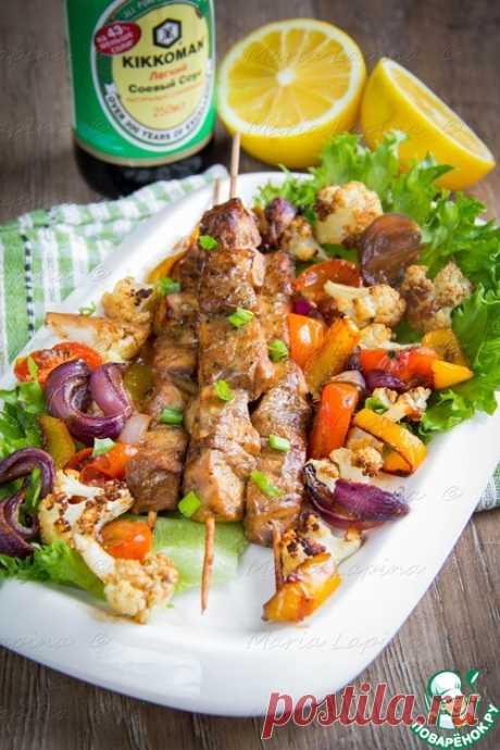 Рыбные шашлычки с овощами - кулинарный рецепт