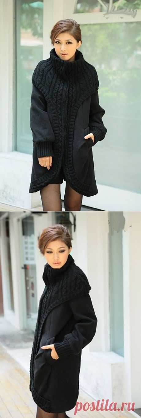 Coat with a knitted decor \/ Coat and fur coats \/ the Fashionable website about stylish alteration of clothes and an interior