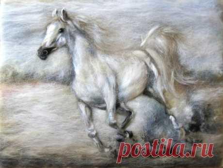 Лошади в технике шерстяной акварели: восхитительные идеи