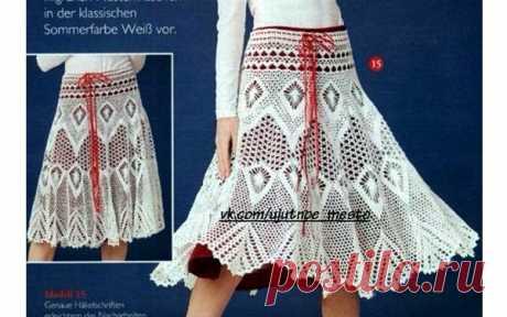Вязаная летняя юбка. Схема