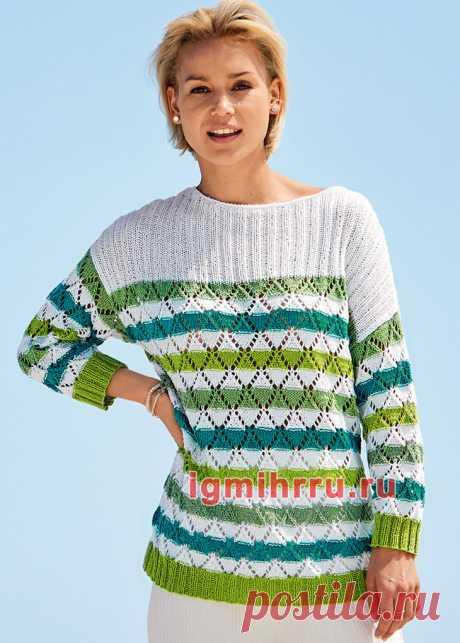 Пуловер с ажурными полосами и кокеткой в резинку. Вязание спицами со схемами и описанием