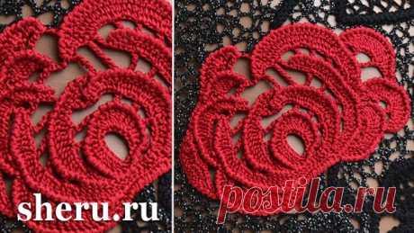 Роза крючком схема и описание, видео вязания ирландского кружева №3 с розой