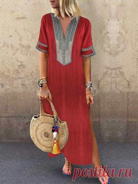 Женское Лоскутная этническая печать с короткими рукавами Платье Ваш друг поделился с вами модным сайтом и дает вам скидку до 20%! требуй это сейчас.