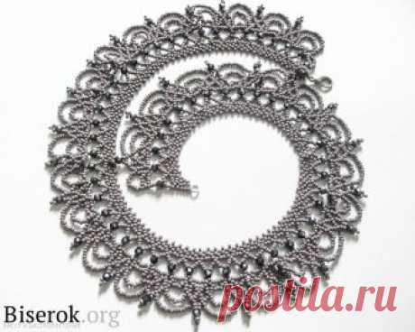 """Колье """"Королева"""" Колье, бусы, ожерелья – Бисерок Красивое украшение на шею. Плетем из бисера шикарное колье-воротник."""