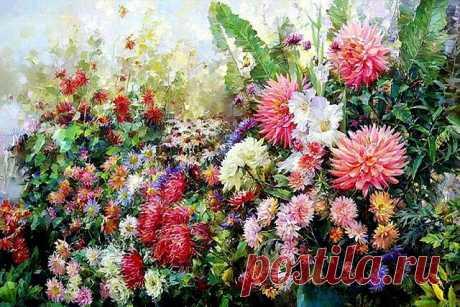 — Видишь цветы?  — Да, сэр.  — «Прощай-лето», Дуг. Такое у них название. Чуешь, какой воздух? Август пришел. Прощай, лето.  — Ничего себе, — сказал Дуг, — тоскливое у них название.  Рэй Брэдбери. Лето, прощай!. ............................................. Акварель Олега Тимошина.