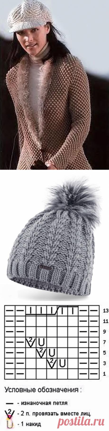 Тёплый жакетик и шапка с колосками спицами
