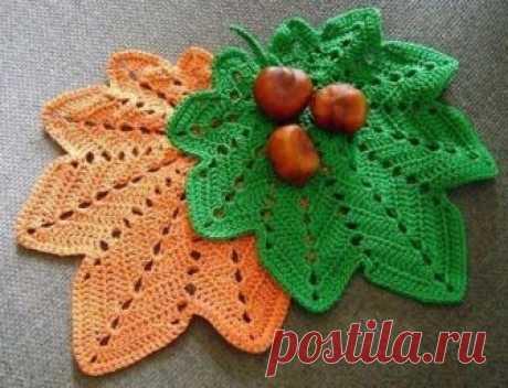 Вязание крючком: украшаем дом и одежду осенними листьями (схемы)