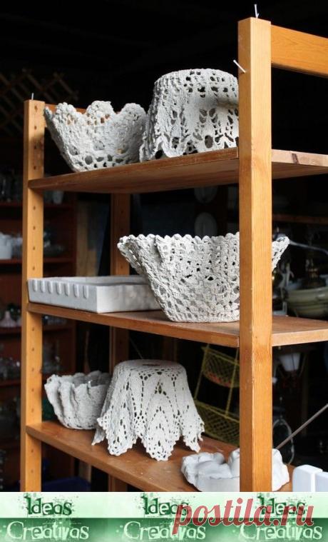 Ideas Creativas y Practicas: Cómo hacer un tazón de cemento con un tapete Crochet