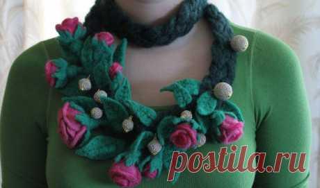 Декоративный шарфик. Сухое валяние.