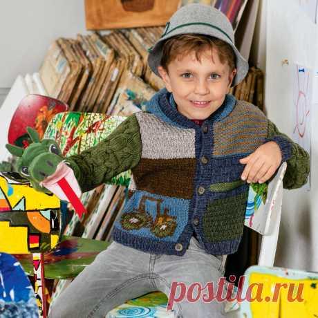 Детская кофта в стиле пэчворк - схема вязания спицами с описанием на Verena.ru