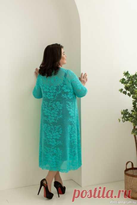 Платье Бирюзовое в филейной технике.   Вязание крючком. Ваши работы