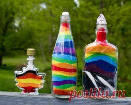 """Бюджетный способ сделать цветной """"песок"""" для декорирования бутылочек"""