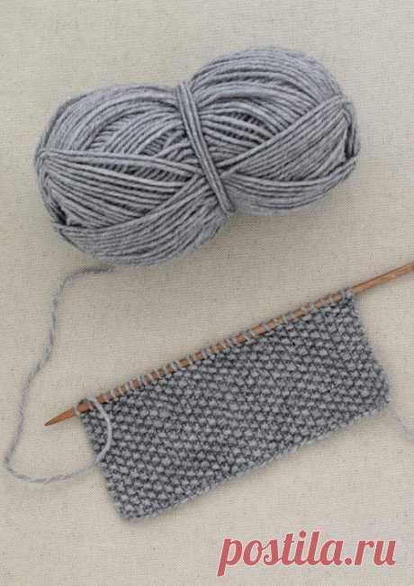 Простой разноцветный шарф жемчужным узором связанный спицами — Мастер-классы