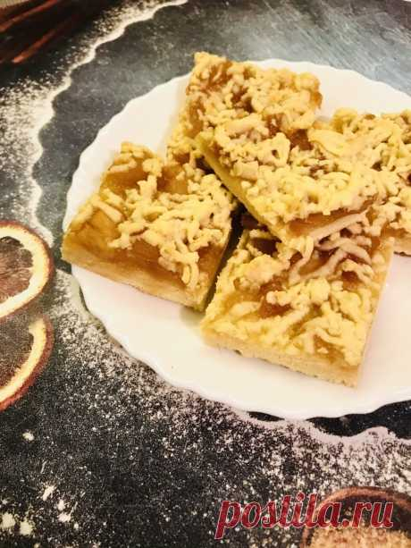 Песочный пирог-крошка с яблочным повидлом рецепт с фото пошагово