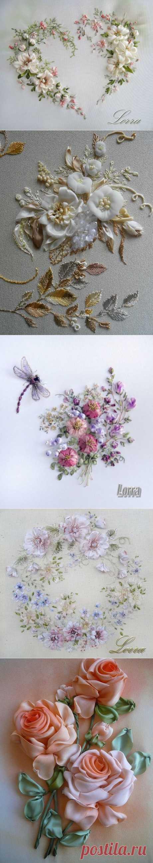 Вышиваем лентами очаровательные нежные цветы | Домохозяйки