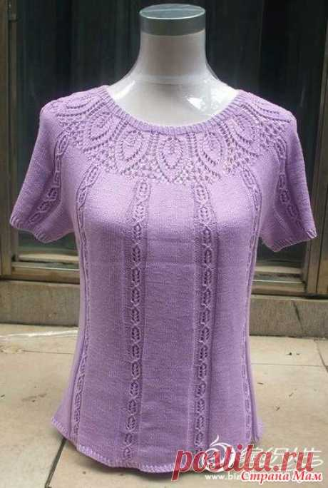 Jumper with the round figured coquette. Spokes. - KNITTED FASHION + FOR NOT MODEL LADIES - the Country of Mothers