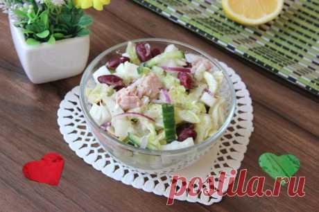 Салат с тунцом и красной консервированной фасолью
