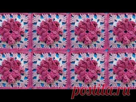 El motivo con la flor la Lección 319 Сrochet flower motive la Labor de punto por el gancho