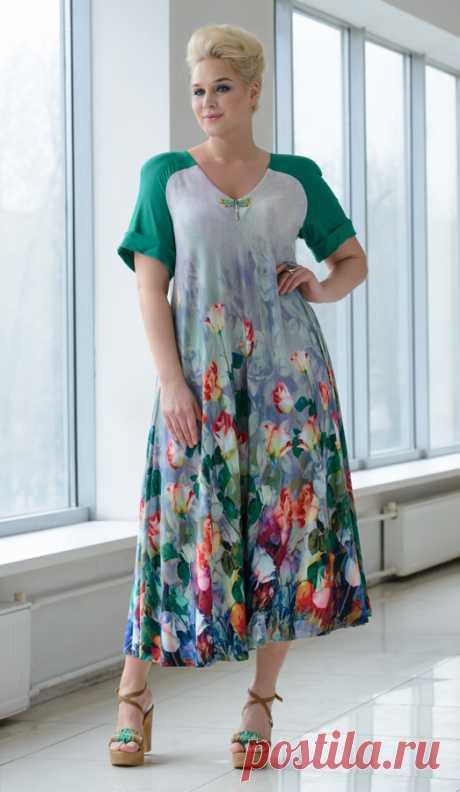 Платье арт.1412.    Самая женственная вещь в гардеробе, несомненно, платье. Мы подобрали для него великолепный струящийся трикотаж из натуральных вискозных нитей.  Одарили  яркими акцентами, чтобы ты чувствовала себя обворожительной в любой момент будущего лета.