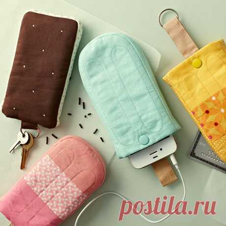 Идея для тех кто шьет: чехол-мороженое для телефона.