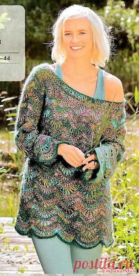 Пляжный пуловер с круглой кокеткой Этот пажурный пуловер с круглой кокеткой связан красивым волнообразным узором.Прекрасная модель для пляжного сезона. Вязание ваше хобби. Спецвыпуск EXTRA - №3 2019 - КРЮЧОК