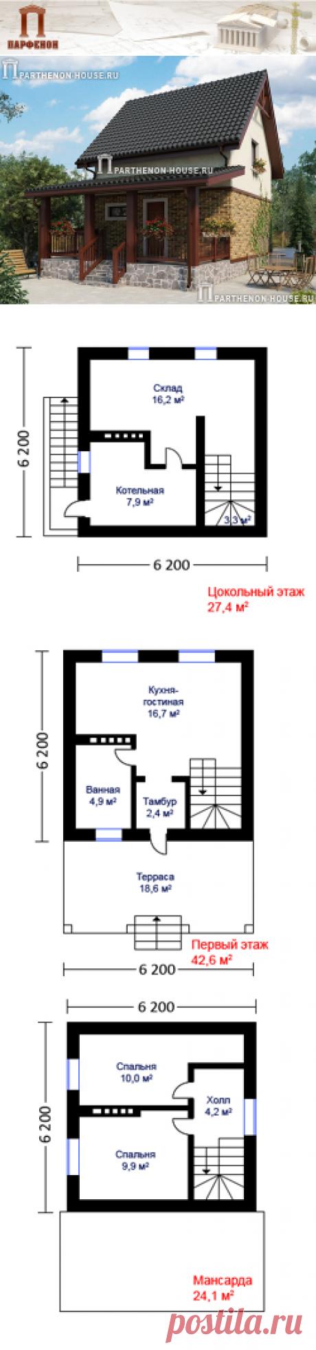 Проект небольшого дома с подвалом и мансардой НД 94-1  Площадь общая: 94,10 кв.м. Высота в подвале 2,50 м. Высота 1 этажа 2,60 м. Высота в мансарде от 1,40 м. до 2,50 м.   Технология и конструкция: строительство дома из газобетона.