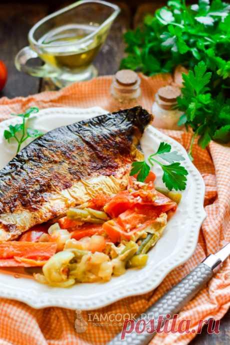 Скумбрия с овощами в рукаве в духовке — рецепт с фото пошагово