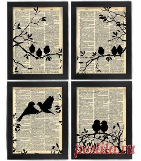 Love at First Sight, Love Birds, Birds, Bird art print set, dictionary Art, Book Art, wall Decor, Wall Art Mixed Media Collage: