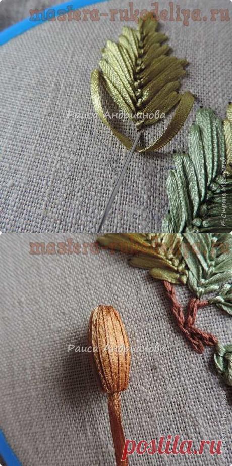 Мастер-класс по вышивке лентами: Желуди. Аппликация на органайзере