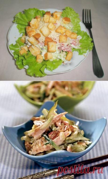 Подборка вкуснейших салатов с копченой курицей.