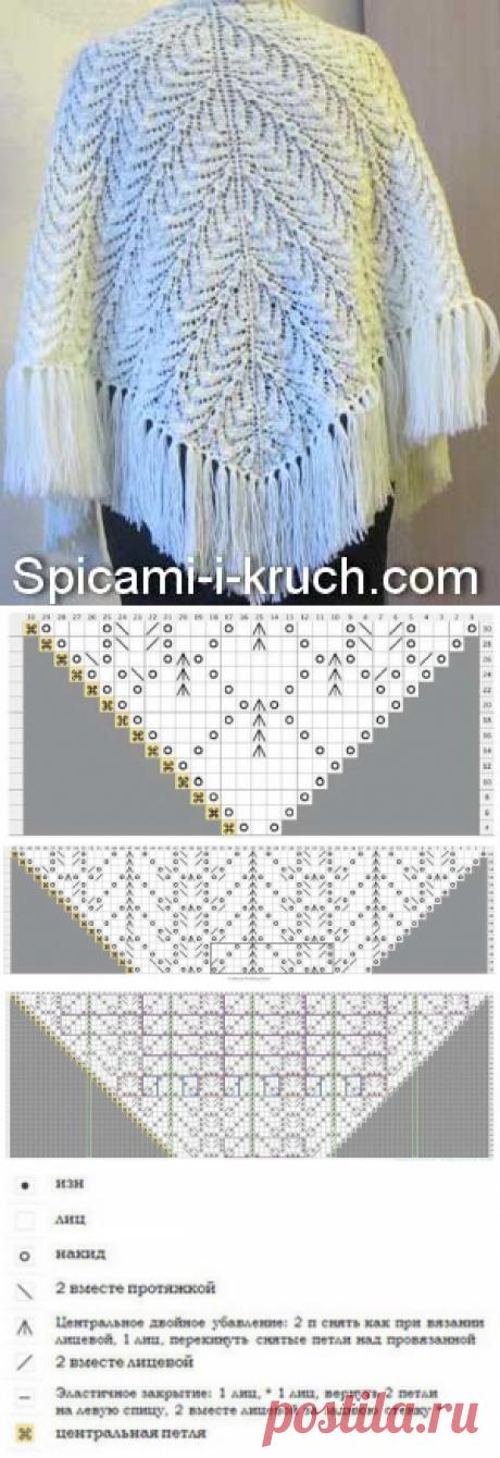 Вязаная шаль спицами (схема и описание)