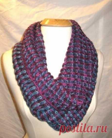 Двухсторонний шарф спицами в технике бриошь