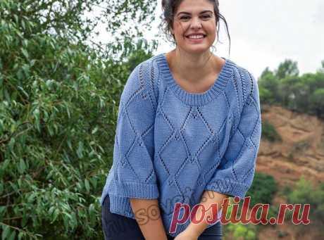 Пуловер для полных с рукавами реглан