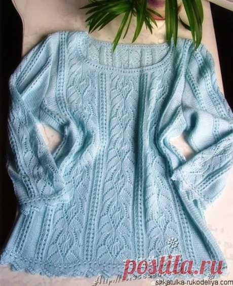 Нежно-голубой пуловер спицами Нежно-голубой пуловер спицами. Женский пуловер спицами.