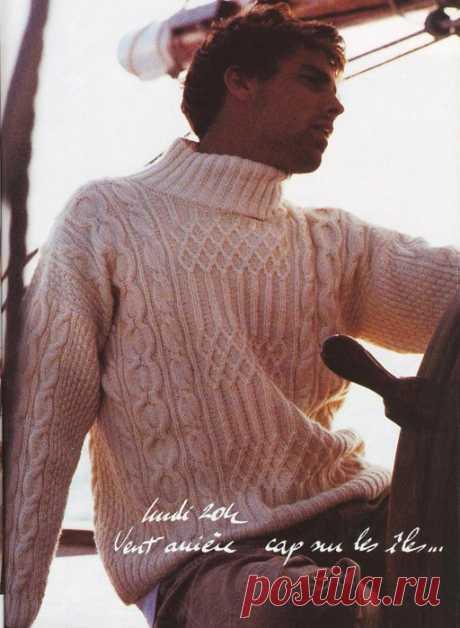 Мужской свитер с аранами.