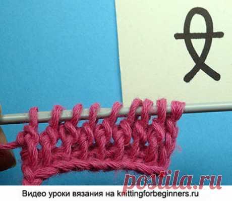 """Начинаем вязать – Видео уроки вязания » """"Скрещенный столбик с накидом"""" – Тунисское вязание – Урок №43"""