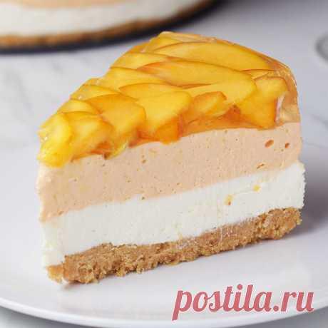 Peaches 'N' Cream Cheesecake Recipe by Tasty