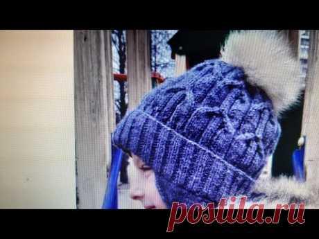 Зимняя шапочка с помпоном,с отворотом и ушками для мальчика.Пошагово                       Часть 1.