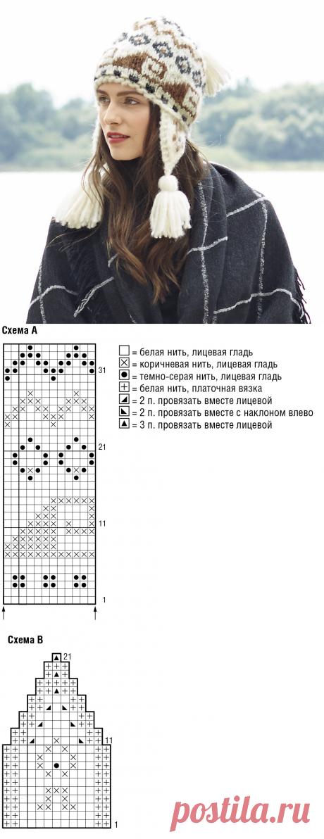 «Перуанская» шапка - схема вязания спицами. Вяжем Шапки на Verena.ru